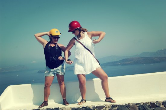 Acting goofy, Santorini views, Greece