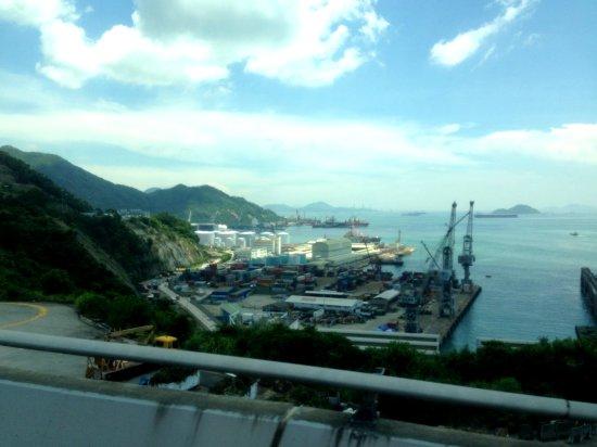 Hong Kong harbor, view from bridge