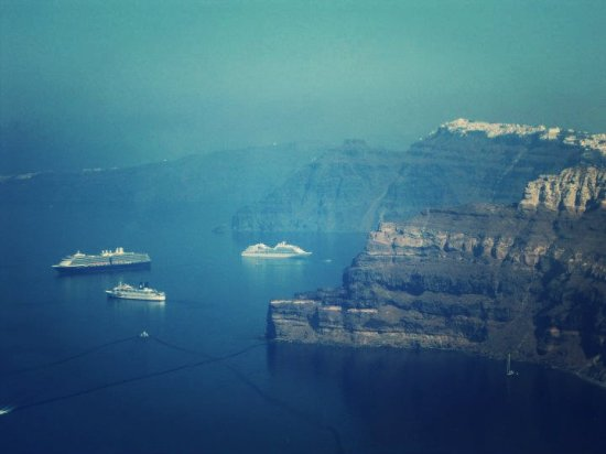 View of cliffs, Santorini, Greece