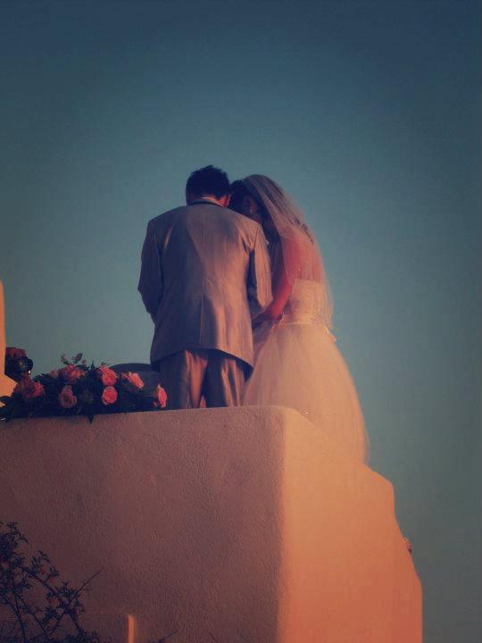 Wedding during sunset in Oia, Santorini, Greece