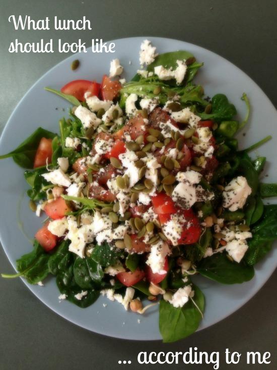 Tomato, feta, pumpkin seed salad