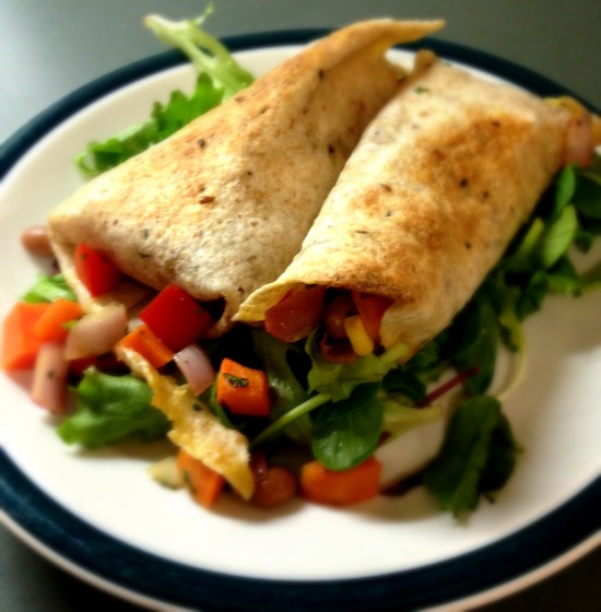 Spicy and smoky sweet potato burritos