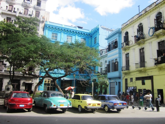 Colorful old cars and buildings, Havana